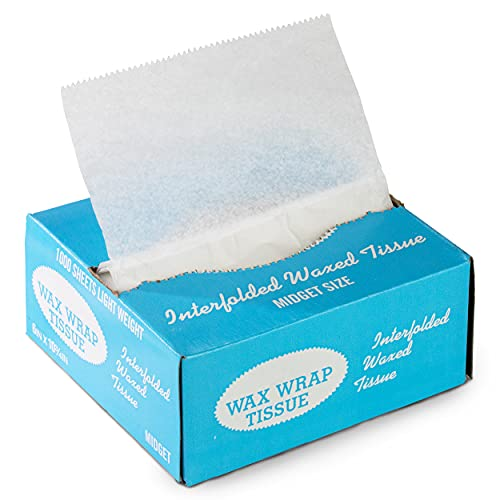 [1000 Pack] Interfolded Food and Deli Dry Wrap Wax Paper Sheets with Dispenser Box, Bakery Pick Up Tissues, 6 x 10.75 Inch