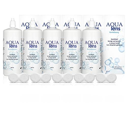 AQUA lens Kontaktlinsen Fluessigkeit - Sparpack (5 x 360 ml + 5 x Behälter) - Premium All-in-One Pflegemittel für weiche Kontaktlinsen mit HPMC
