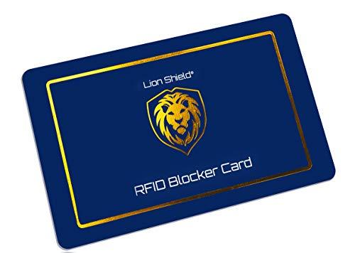 Lion Shield® RFID Blocker Karte | Premium NFC Blocker Karte 2020 | RFID Schutz für Ihre EC Karte | Keine Schutzhüllen mehr nötig - Blau