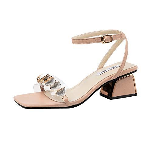 Estilo De Hadas Gruesas Con Sandalias Romanas Verano Nueva Palabra Con Tacones Altos Zapatos De Mujer Salvaje Moda Palabra Hebilla Zapatos Romanos