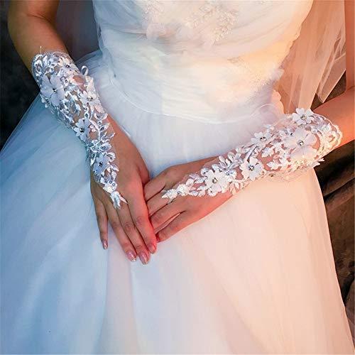 Spitzenhandschuhe Brauthandschuhe Brautkleid Handschuhe Weiße Spitze Lange Diamanten Laub Fingerlose Sommer Dünne Handschuhe Hochzeit Braut Vollfinger Handschuhe (Color : White)