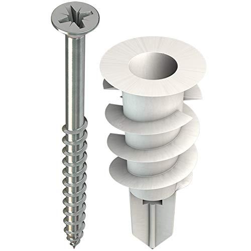 TOX Gipskartondübel Spiral 32 mm mit Schraube 4,5 x 45 mm, für einlagige Gipskartonplatten, 50 Stück Dübel und 50 Senkkopfschrauben, 068101231