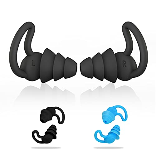 Silicone Swimmer Ear Plugs 2 Pairs Comfortable Professional Waterproof Fit Ergonomics Swimming Ear Plugs for Adults Kids, Showering Bathing Surfing Snorkeling and Other Water Sports(1Black&1Blue)