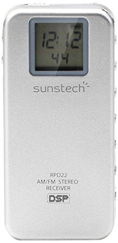 Sunstech RPD22SILVER - Radio de bolsillo digital AM/FM con reloj, plata