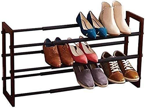 QZMX Estante de Zapatos Zapato Zapatero Extensible Rack 3 Niveles de Madera Gabinete de Almacenamiento Corredor Ajustables sin Necesidad de Herramientas Estante