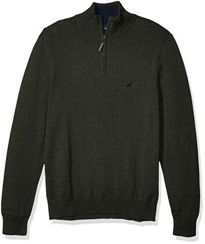 Nautica Men's Classic Fit Quarter Zip Sweater, Moss Heather, Medium