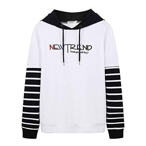 LUOYLYM 2019 Herbst Und Winter Neue Männer Und Frauen Langarm-Shirt Kapuzenpullover Pullover Gestreifte Nähte Ärmel Shirt T-Shirt Sweatshirt