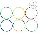 6 Stück Kinder Hula Hoop Reifen, 80cm - Einstellbar, Abnehmbar, Bunt - Ideales Spielzeug & Spiel, Fitness, Sport & Gymnastik, für Kinder & Erwachsene.