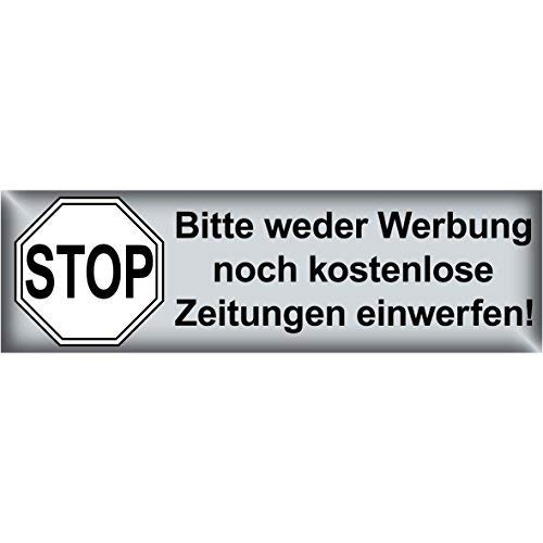 GreenIT 100 Stück Stop Bitte Keine Werbung und kostenlose Zeitungen einwerfen Aufkleber Sticker Hinweis Briefkasten