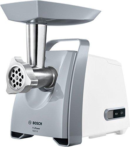 Bosch Fleischwolf CompactPower MFW45020, elektrisch, Wurstaufsatz, Edelstahl Loch-Scheiben 3,8mm + 8mm, Stopfer, Kebbe-Aufsatz, Rücklauffunktion, 1600 W Blockierleistung, 500 W, weiß