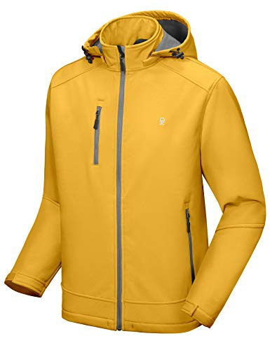 Little Donkey Andy Men's Softshell Jacket with Removable Hood, Fleece Lined and Water Repellent Yellow Size M