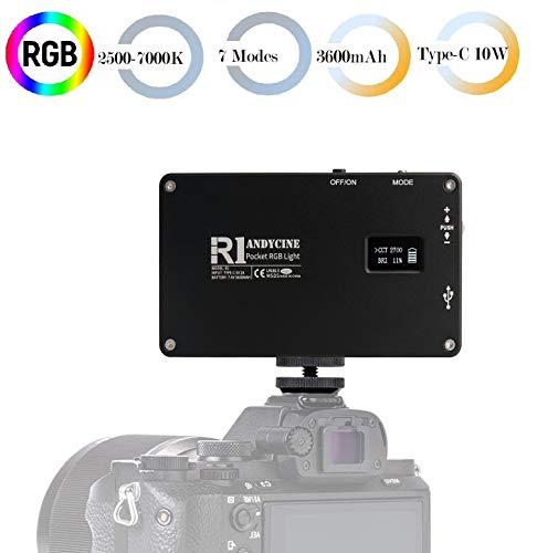 ANDYCINE R1 LED RGB Videoleuchte, Type C USB 192 LED 2500K-7000K 360-Taschen-Kameralicht mit Aluminiumgehäuse CRI97.7-Lichtmodi für DSLR Camcorder Micro Film Studio Photography