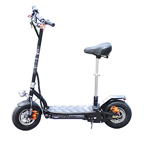 Gran Scooter Patinete Eléctrico Citystreet 1000W/9aH (Velocidad Máx. 25Km/H, Autonomía 20Km, Batería Extraíble, Sillín y Manillar Desmontable) - Negro