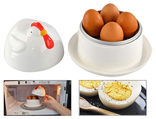 HOME-X Jumbo Hen-Shaped Microwave Egg Boiler with Lid, Cook 1 to 4 Eggs, Quick Hard Boiled Egg Maker, Breakfast Cooking Utensils