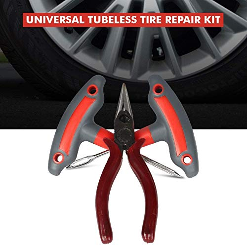 AllExtreme EX-5002 Tubeless Tyre Puncture Repair Kit Portable Flat Tire Puncher Fixing Box (T Handle Grips + 5 Repair String Plugs + Plier + Rubber Solution + Cutter)