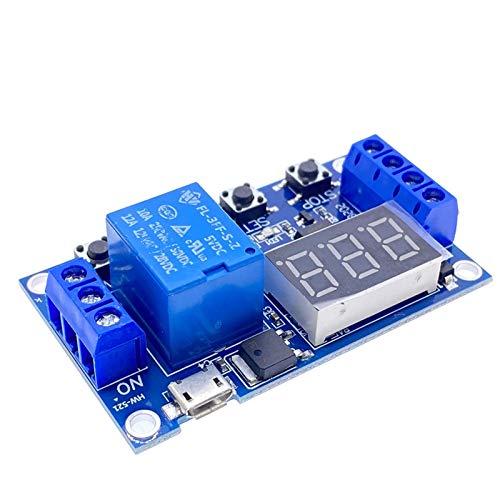 Relé electrónico DC 5V 12V 24V LED LED DIGITAL Retardo de tiempo 1 vía Relé Tiempo de activación Temporizador de Temporizador Interruptor de Circuito Módulo de control de distribución DIY