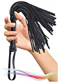 MALINERO Black Crop Whip - Faux Leather Horse Riding Whip
