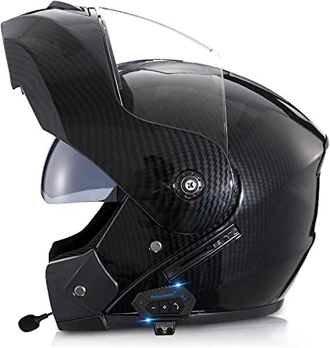 Motorbike Helmet Cascos abiertos Casco de motocicleta modular con Bluetooth, abatible hacia arriba, frontal, de cara completa, ligero, con visera doble, cascos de motocross aprobados por ECE para niñ
