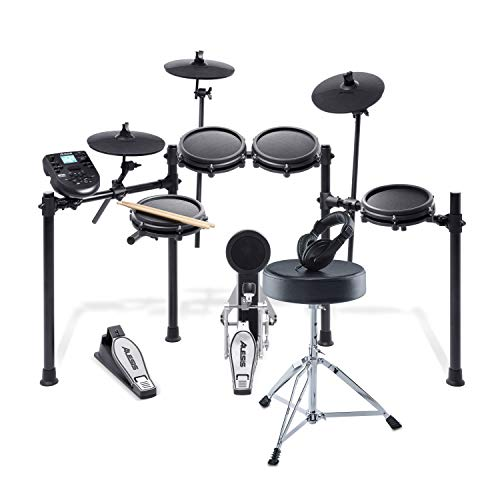 Alesis Drums Nitro Mesh Kit Bundle – Complete Electric Drum Set With an Eight-Piece Mesh Electronic Drum Kit, Drum Throne, Headphones and Drum Sticks