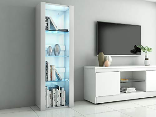 LED Tall Display Cabinet with Glass Shelf,High Gloss Fronts Living Room Cupboard Display Unit Cabinet Sideboard Free Standing Bookcase Storage(White)