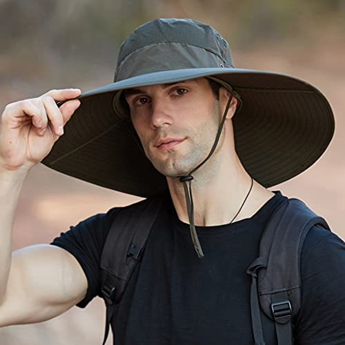 LONGSAND Sombrero de protección UV para Hombres, Sombrero de Vaquero con Correa Ajustable, Gorra de Pescador, Sombrero de sombrilla Impermeable al Aire Libre de Moda,D,58~59cm
