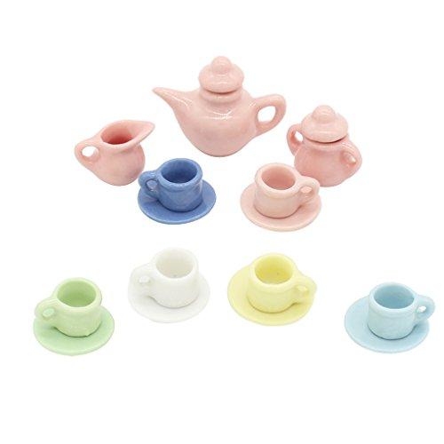 Sharplace 9-teilig/ Set 1:12 Puppenhaus Miniatur Porzellan Teeservice Tee Set Geschirr für Puppen Haus Dekoration