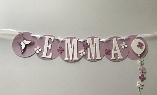 Emma, nombre, guirnalda de cartón fotográfico con 4letras, hecho a mano.