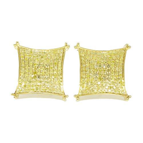 Señoras para hombre Pendientes de botón de plata de ley chapados en oro amarillo de 10K de 15K Pendientes de botón de diamantes de Pave de 15 mm .75 Ct