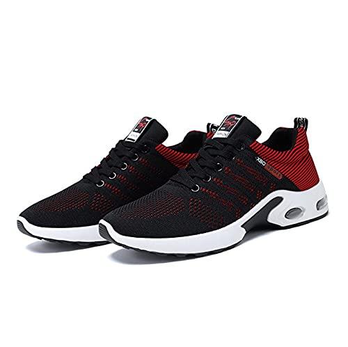[FleurUneffe] メンズ スニーカー ランニングシューズ フィットネス ウォーキング 厚底 疲れにくい 通気性 スポーツ カジュアル かっこいい 靴 (赤, 26.5CM)