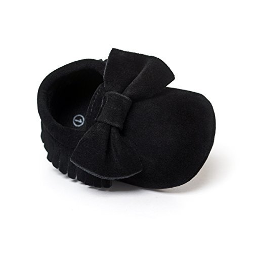 THEE BRON Infant Toddler Baby Soft Sole Leather Shoes for Girls Boys Walking Sneakers (12-18 Months-13cm, Black)