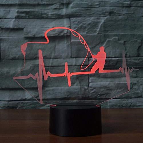 Hartslag in de vorm van een tafellamp LED 3D nachtlicht 7 kleuren wisselt vissen enthousiast lamp aanrakingsschakelaar kinderen cadeau