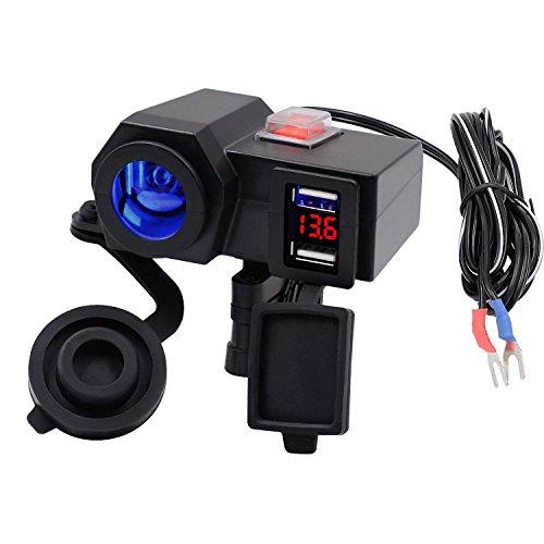 Kriogor Wasserdicht Dual USB Ausgang Motorrad Lenker Klemme Netzteil USB Ladegerät Ladekabel/LED Voltmeter Display (Steckdose Motorrad)