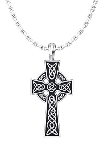 Celtic Cross Pendant Necklace, 925 Sterling Silver Jewelry for Men and Women, First Communion, Baptism, and Confirmation Gift for Boys and Girls with 18' Chain