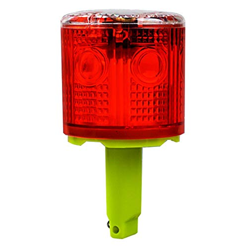 Aolyty Solar Strobe Warning Light 360 Degree Single Column Super Bright Waterproof IP48 for Construction Traffic Dock Marine Wireless Light Control Flashing (Red)