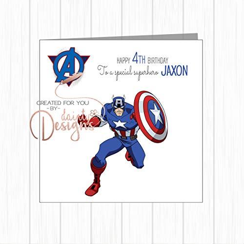 Personalised Name & Age Kids Birthday Card Superhero Avengers Captain America