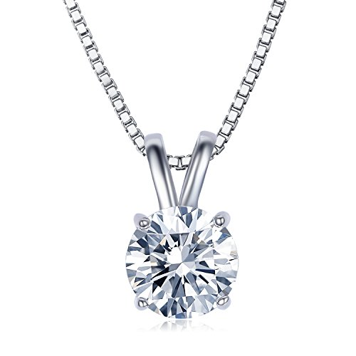 UMODE 18K White Gold Plated Cubic Zirconia Necklace for Women-2 Carat CZ Solitaire Pendant Necklace for Women