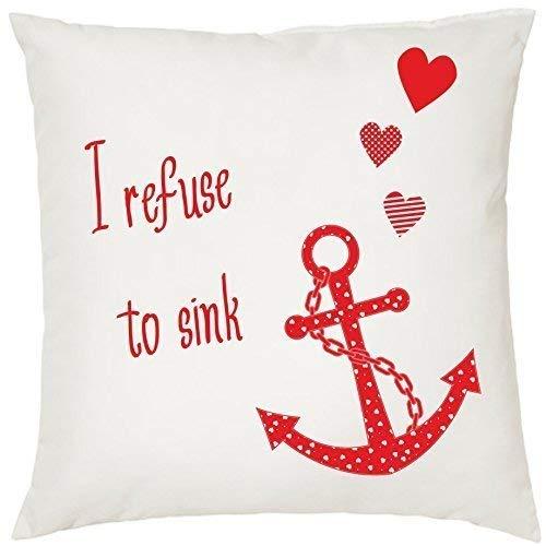 Kissen Zierkissen mit Füllung Kuschelkissen Geschenk Maritim Nautical 40cm x 40cm I refuse to sink Anker Anchor (rot)