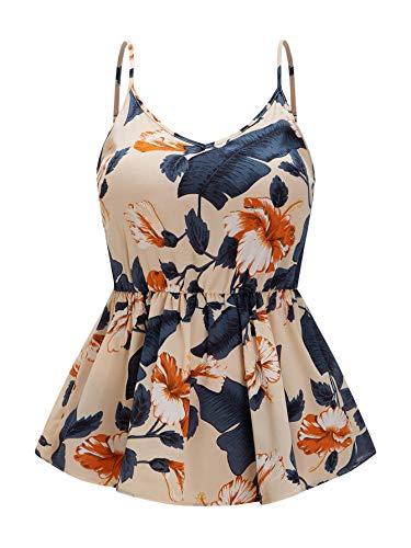 SheIn Women's Plus Size V Neck Sleeveless Camisole Floral Ruffle Cami Tank Top Multicoloured XX-Large Plus