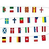 ARONTOME Euro 2021 Bunting, 24 banderas de cuerda de fútbol, bandera de la copa europea, para la decoración del jardín del hogar