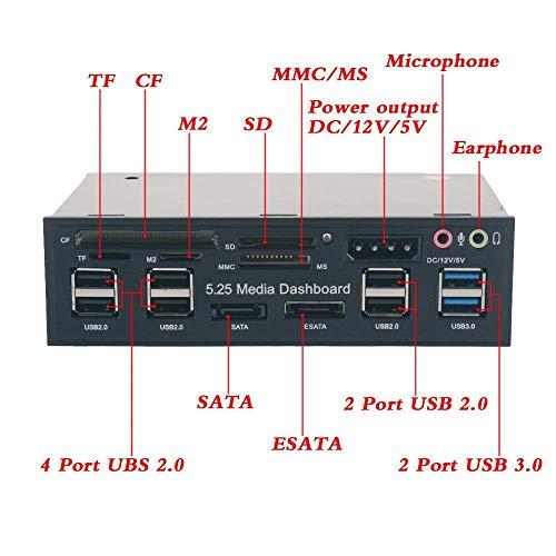 Eidoct 13,3 cm (5,25 Zoll) Multifunktions-USB 3.0 Hub CF TF M2 SD MS Kartenleser CD-ROM Frontpanel Media Dashboard SATA eSATA Audio Kopfhörer Mikrofon