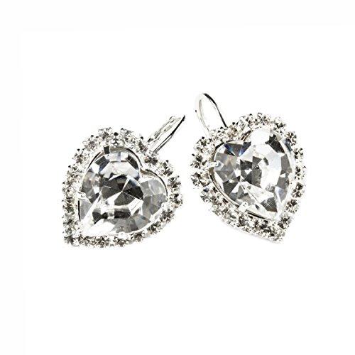 Pendientes de Mujer Corazón Cristales de Swarovski ® Transparentes con Baño de Rodio Titanio Exclusivo