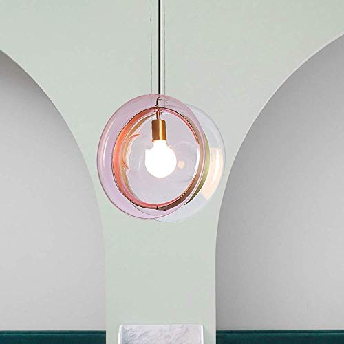 Hanglamp armaturen Scandinavische minimalistische glas in lood kroonluchter creatieve slaapkamer nachtlampje restaurant café veranda bar gang decoratieve plafond lamp 36x36cm (kleur: blauw-bruin