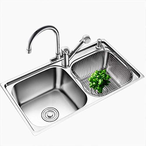 YWTT Accesorios de baño Fregadero Doble de Cocina Fregadero de Acero Inoxidable Lavabo de Limpieza de Frutas Piscina Lavabo de baño Vajilla Lavabo de Limpieza Lavabo de Doble Cuenco (Plateado, 72
