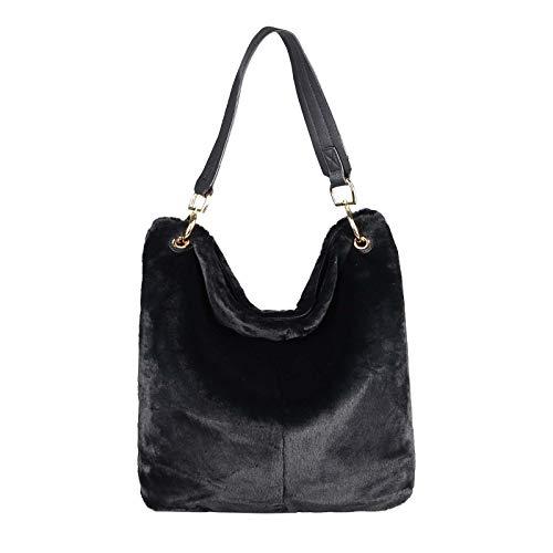 OBC Damen Hand-Tasche PELZTASCHE Shopper Hobo Bag Umhängetasche Henkeltasche Schultertasche Beuteltasche Fell Kunstpelz Crossover (Schwarz)