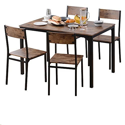 Dining TDining Table and Chair Set 4,M MUNCASO Wooden Steel Frame Industrial Style Retro Kitchen Dining Table Set,Rustic Brown