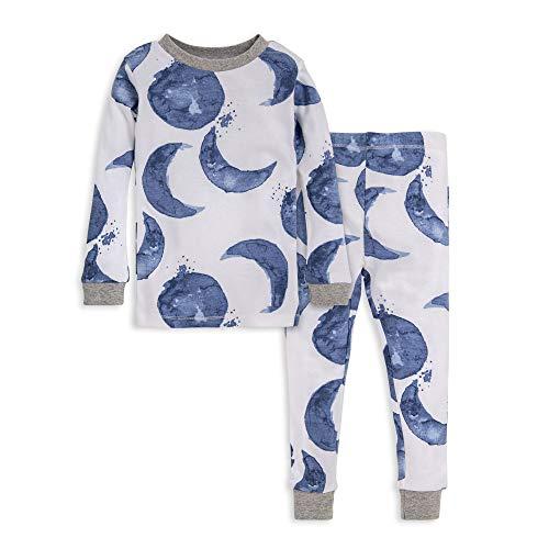 Burt's Bees Baby baby girls Pajamas, Tee Pant 2-piece Pj Set, 100% Organic Cotton and Toddler Pajama Bottoms, Indigo Hello Moon, 3T US
