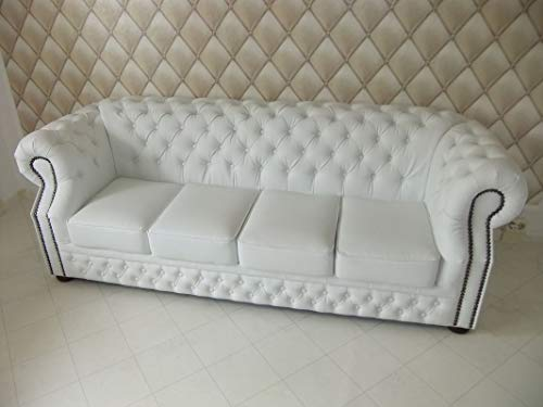JVmoebel LEDERSOFA Chesterfield 4-SITZER England Sofa Leder GARNITUR