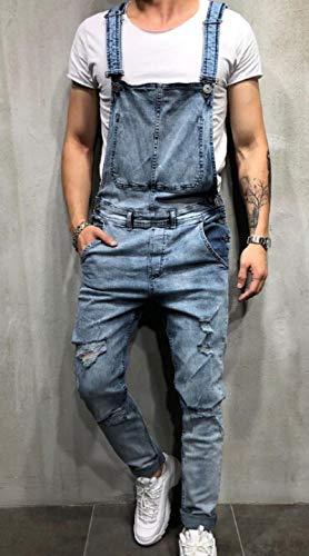 Guapo Jeans Vaqueros Pantalon Monos Vaqueros Rasgados De Moda para Hombre, Monos con Pechera De Mezclilla Desgastados Hi