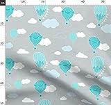 Heißluftballon, Luftballons, Wolken, Handgemalt, Blau,