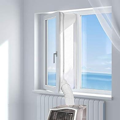 Foto di HOOMEE 300CM Guarnizione Universale per Finestre per Condizionatore Portatile, Asciugatrice – Per Tutti Climatizzatori Mobili, Facile da Montare – Con zip, Chiusura a Strappo